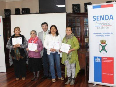 Senda Previene La Unión certificó a quince dirigentes sociales en temáticas preventivas