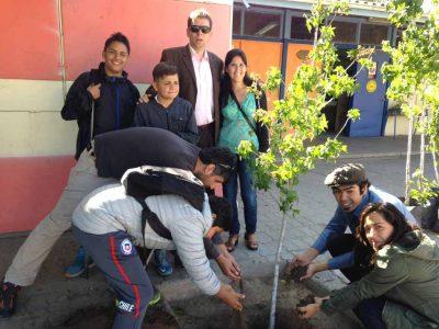 Con plantación de árboles en escuela de San Felipe Senda Previene ayuda a mejorar los espacios educacionales
