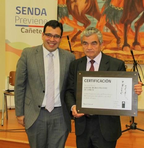 Cañete se certifica como la primera municipalidad en prevención de las drogas y alcohol en la provincia de Arauco