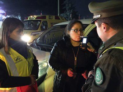Ambulancia cero alcohol de SENDA Araucania aplicó alcotest en ingreso a ramadas en Isla Cautín