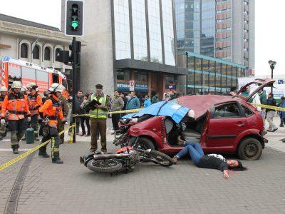 Con simulacro de accidente SENDA Araucanía llama a la prudencia de los conductores y peatones en fiestas patrias