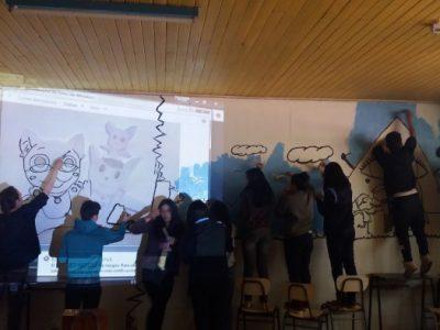 Estudiantes del Centro Educacional Fernando Santiván de Panguipulli elaboraron mural preventivo