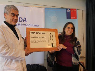 SENDA certifica al Hospital San Juan de Dios por programa Trabajar con Calidad de Vida