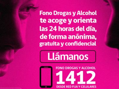 Llamadas al Fono Drogas y Alcohol 1412 desde la Región Metropolitana aumentaron 161%
