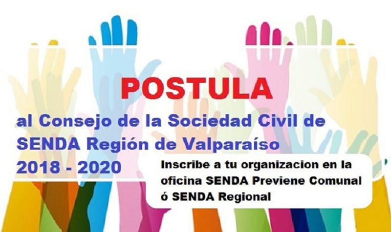 Abiertas las inscripciones para ser parte del Consejo Consultivo de la Sociedad Civil de SENDA en la región de Valparaíso