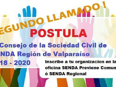 Segundo llamado para ser parte del Consejo Consultivo de la Sociedad Civil de SENDA en la región de Valparaíso