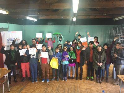 SENDA Previene Puerto Montt  finaliza talleres de invierno para niños y niñas