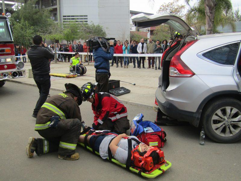 SENDA Previene Talca  participó en simulación de accidente de tránsito para sensibilizar a la comunidad universitaria en estas Fiestas Patrias