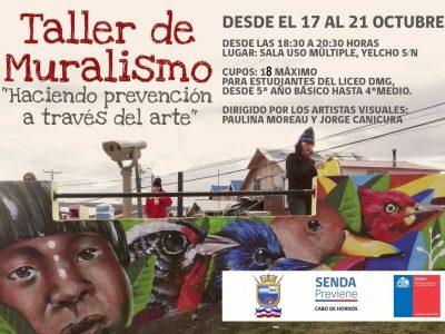 SENDA Previene y el departamento de educación de la municipalidad de Cabo de Hornos realizan taller de muralismo