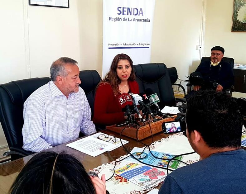 En Angol Directora Regional de SENDA y Alcalde advierten sobre alto consumo de marihuana.