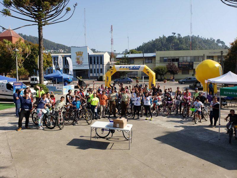 Cicletada Preventiva reúne a la familia en Lebu