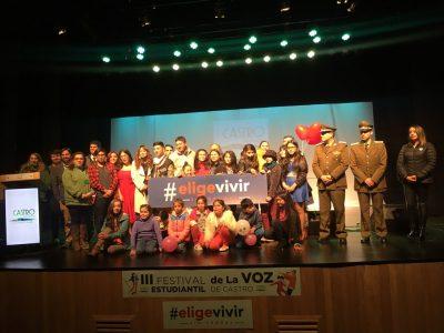 Exitoso Festival de la Voz Estudiantil Elige Vivir Sin Drogas se realizó en Castro