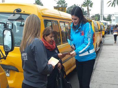 En Arica conductores de buses escolares fueron fiscalizados con alcotest y narcotest