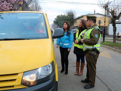 Fiscalización a conductores de transporte escolar en La Araucanía
