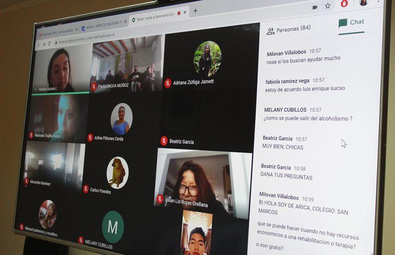Senda  Arica y Parinacota realizó seminario online para adolescentes