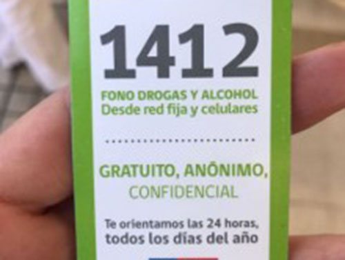 1412: Fono Drogas del SENDA atiende consultas y orienta a personas afectadas por el consumo de alcohol y otras drogas las 24 horas de manera confidencial y gratuita