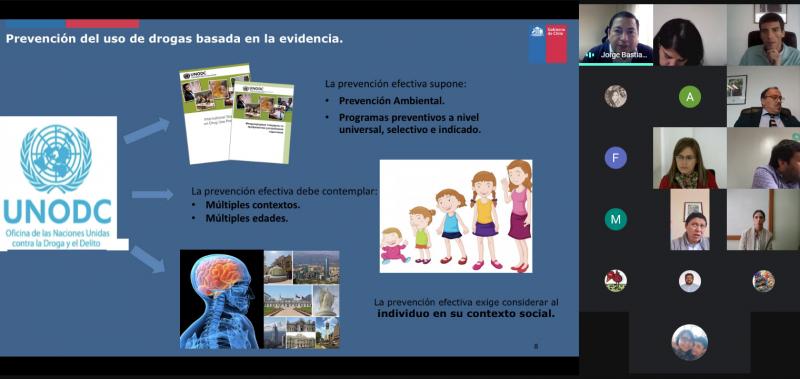 Sesiona Mesa intersectorial  Elige Vivir Sin Drogas de SENDA Biobío