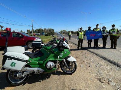 Carabineros y SENDA Maule realizan campaña preventiva en ruta «El Pehuenche»